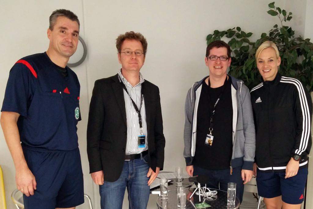 Knut Kircher, Alex Feuerherdt, Klaas Reese und Bibiana Steinhaus. © Collinas Erben/Max-Jacob Ost